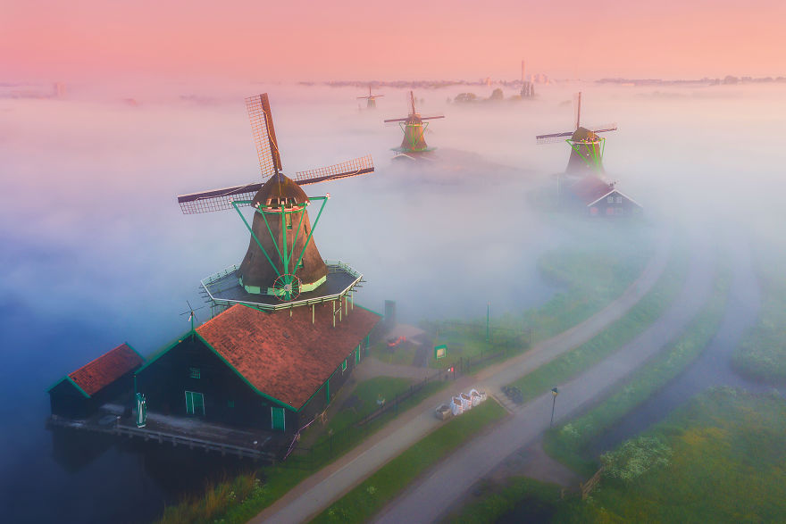 Windmills Rising Above The Fog When The Sun Was Still Below The Horizon Giving A Beautiful Pink Glow
