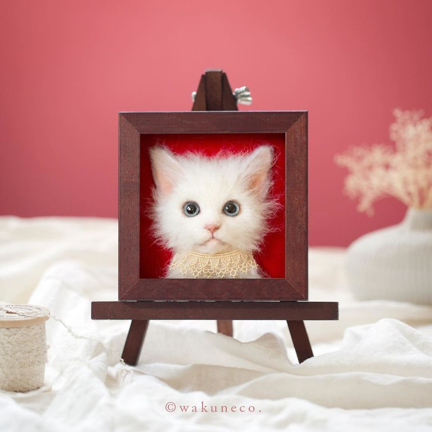 Japanese Artist Makes Realistic 3D Cat Portraits Out Of Felted Wool, And The Result Is Too Purrfect