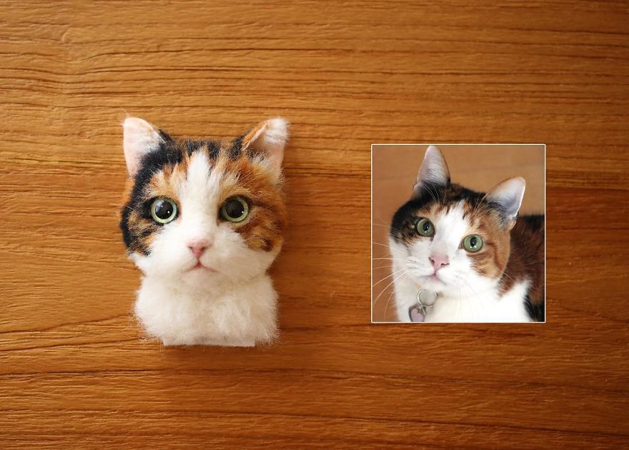 japanese artist makes realistic 3d cat portraits out of felted wool  and the result is too