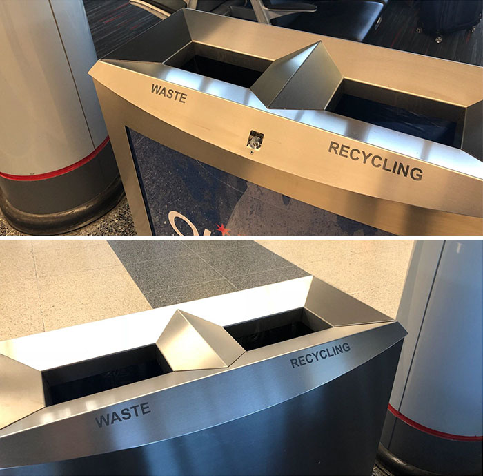 The Same Trash Can, From Opposite Sides