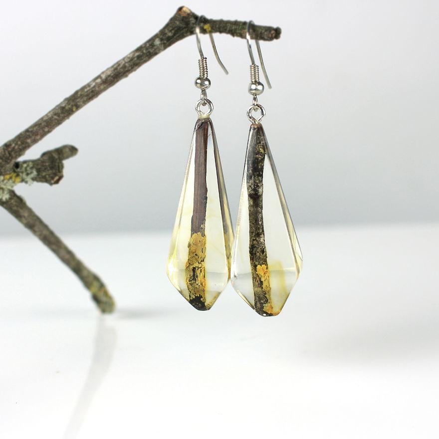 Wood, Resin, Opal Jewelry