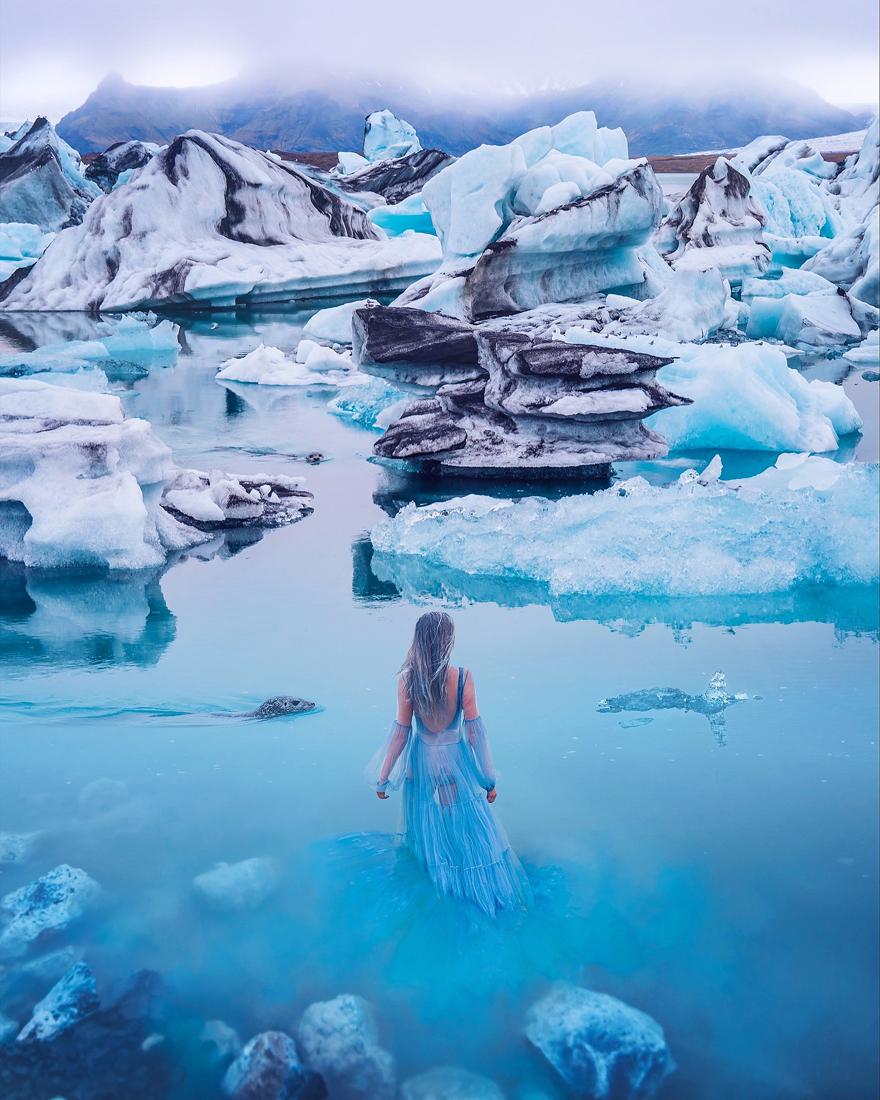 Glacier Lagoon, Iceland. Model: Svetlana