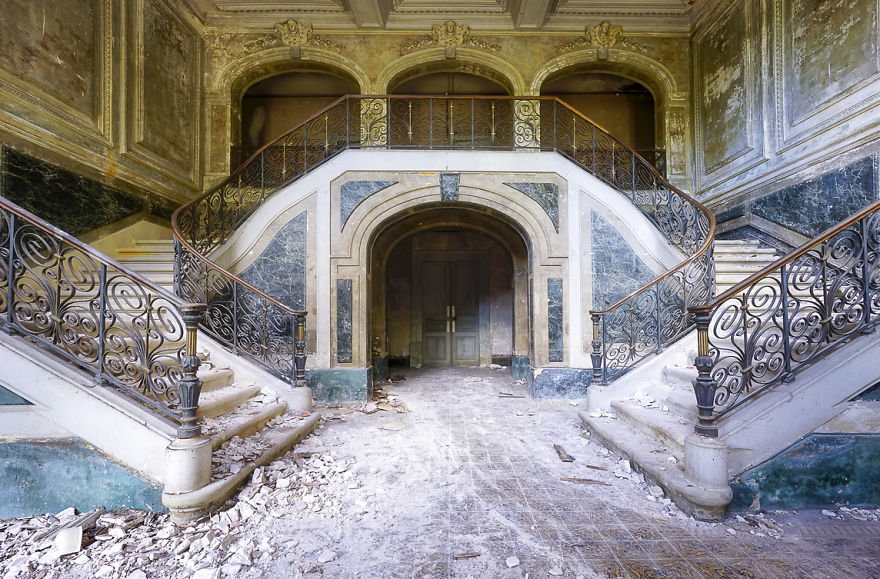 Marble Staircase In An Abandoned Castle