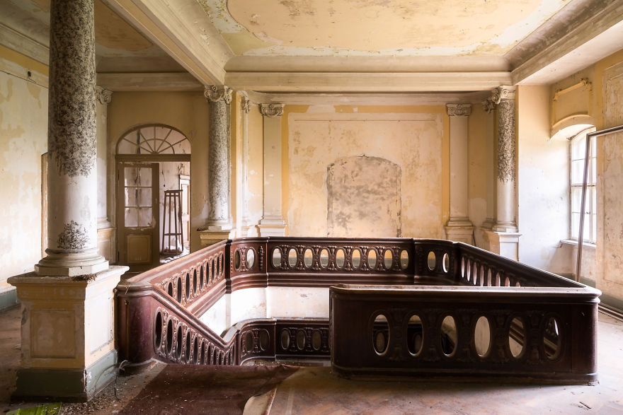 Beautiful Wooden Staircase In An Abandoned Castle