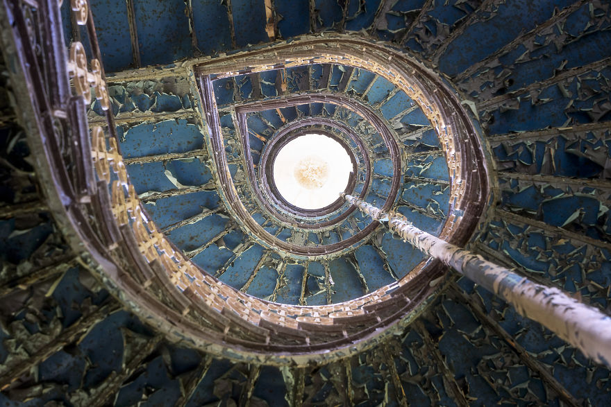 Staircase With Blue Color In An Abandoned Castle
