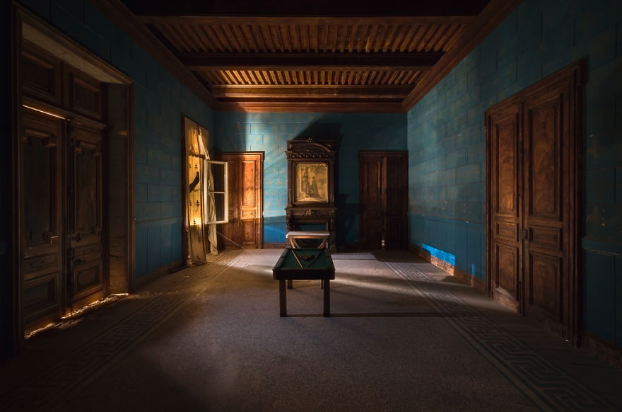Blue Room With A Pool Table In An Abandoned Castle