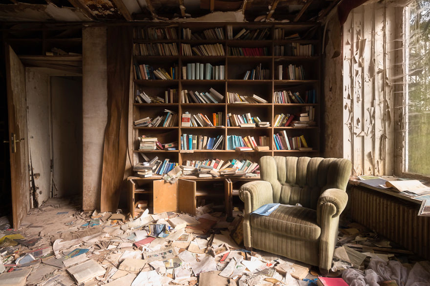 Left Behind Books In An Abandoned House