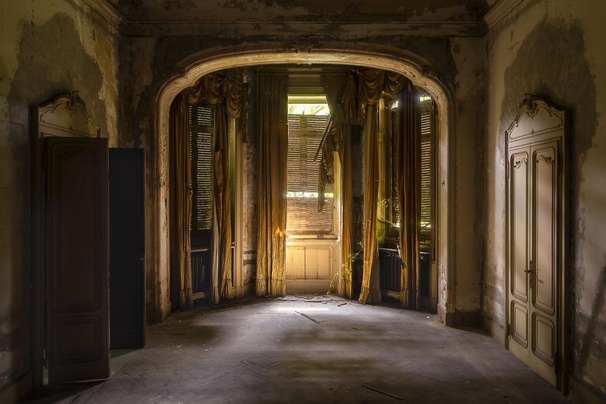 Dark Room In An Abandoned Villa