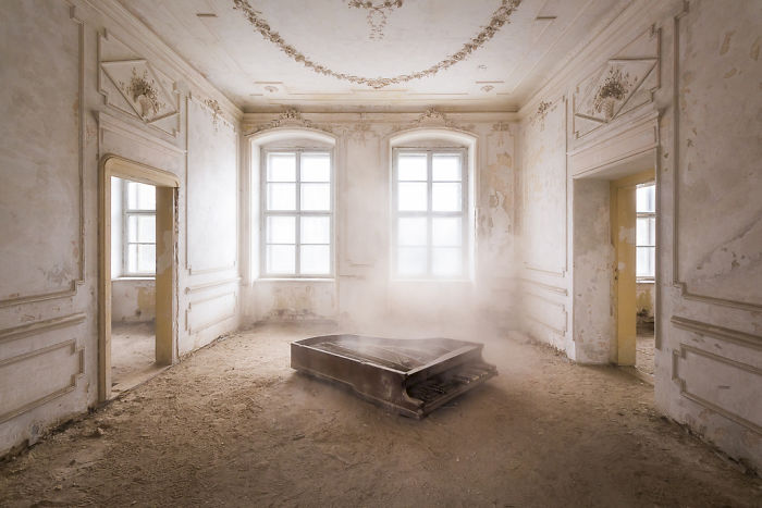 Piano In The Dust On The Floor Of An Abandoned Palace