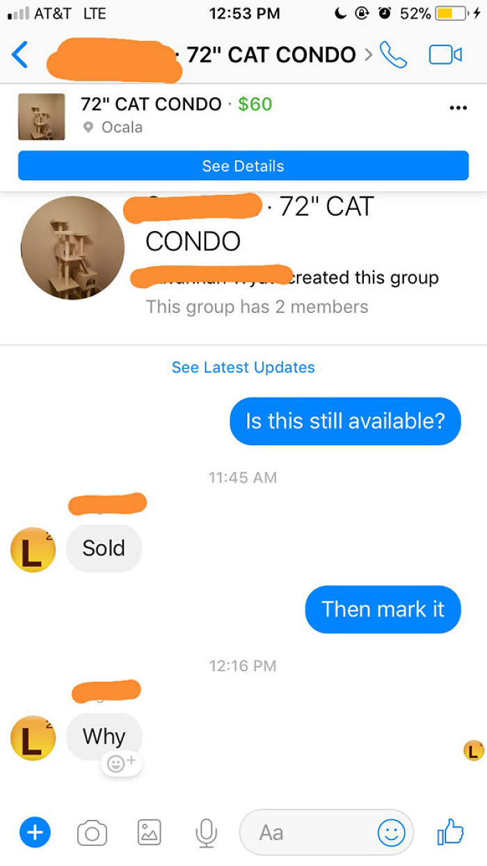 Refuses To Take Down Sold Item On Marketplace