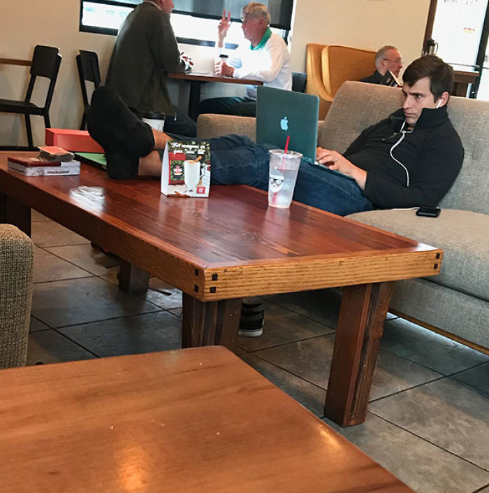 This Guy At The Coffee Shop Took His Shoes Off And Put His Feet On The Coffee Table