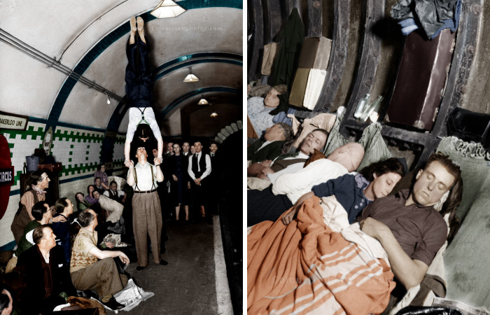 I Colourized Old Photos Of The London Underground During The Blitz In 1940-1941