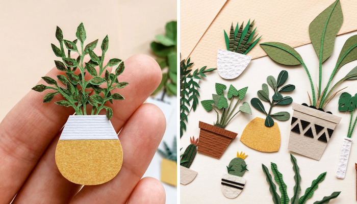 Russian Artist Creates Intricate Paper Plants Without Using Scissors