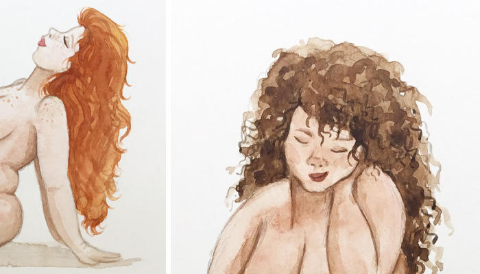 I Paint Beautiful Plus-Sized Nude Life Studies In Watercolour To Encourage Body Positivity
