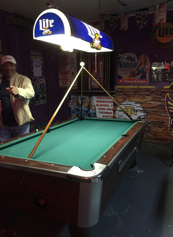 Was Bet That I Couldn't Balance A Cue Ball On Three Pool Cues. Nobody Played Pool The Rest Of The Night