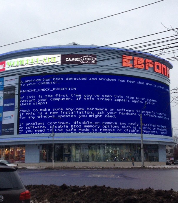 Blue Screen Of Death On The Mall