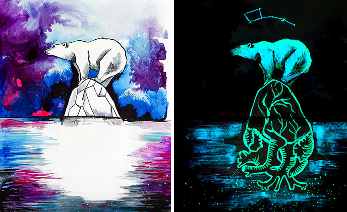 My Paintings Show Their Hidden Meanings When In Dark
