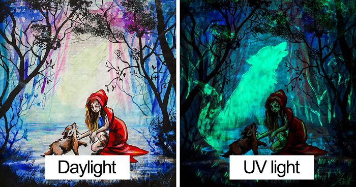 My Paintings Show Their Hidden Meanings When In Dark Bored Panda