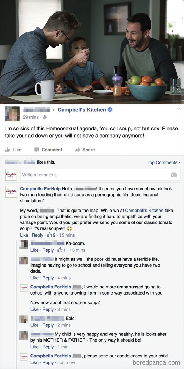 "When Campbell's Ad With Gay Dads Received A Lot Of Homophobic Comments, Mike Melgaard Created A Facebook Page ""Campbells For Help"" To Respond To Those Complaints"