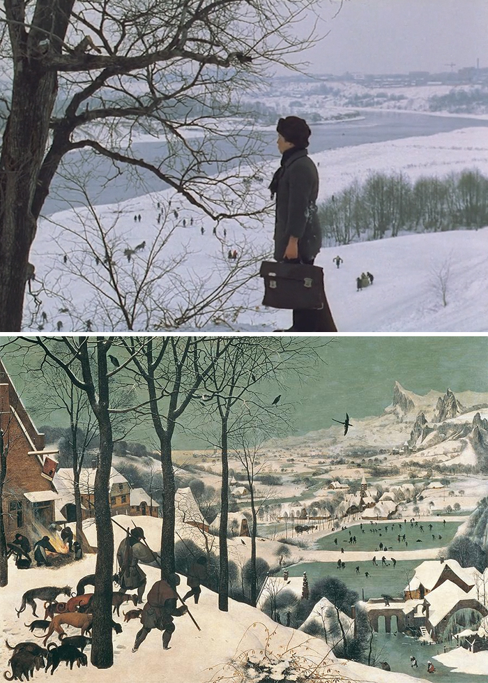 Movie: The Mirror (1975) vs. Painting: The Hunters In The Sun (1565)