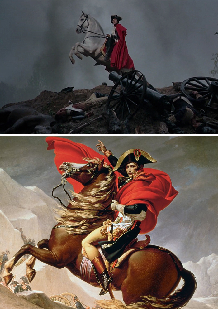 Movie: Marie Antoinette (2006) vs. Painting: Napoleon Crossin The Alps (1801)