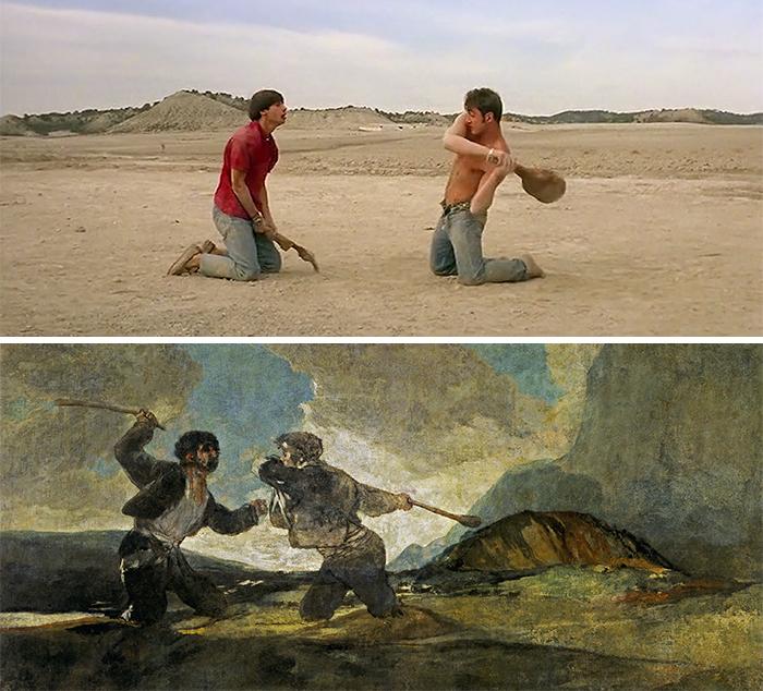 Movie: Jamón Jamón (1992) vs. Painting: Duelo A Garrotazos (1823)