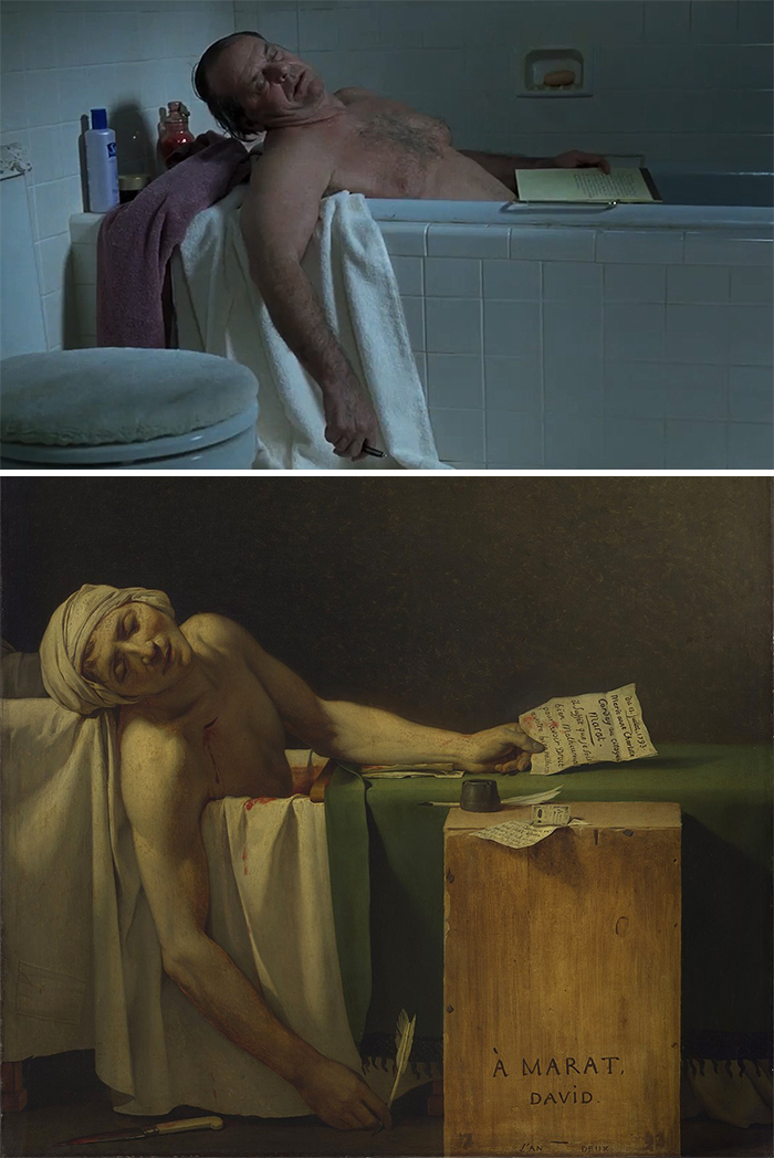 Movie: About Schmidt (2002) vs. Painting: La Mort De Marat (1793)