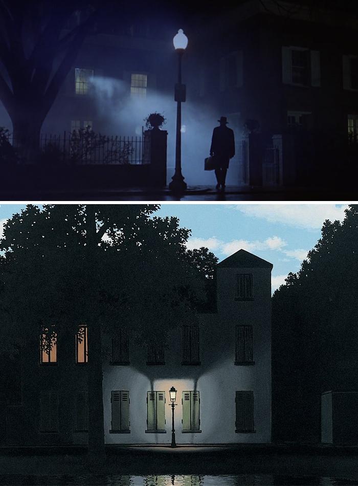 Movie: The Exorcist (1973) vs. Painting: L'Empire Des Lumières (1954)