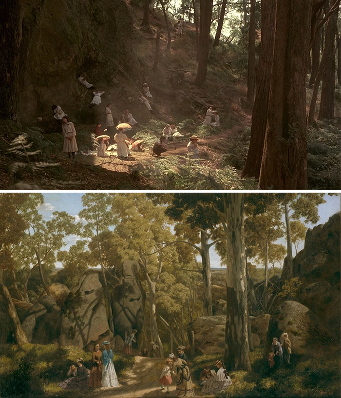 Movie: Picnic At The Hanging Rock (1975) vs. Painting: At The Hanging Rock (1875)