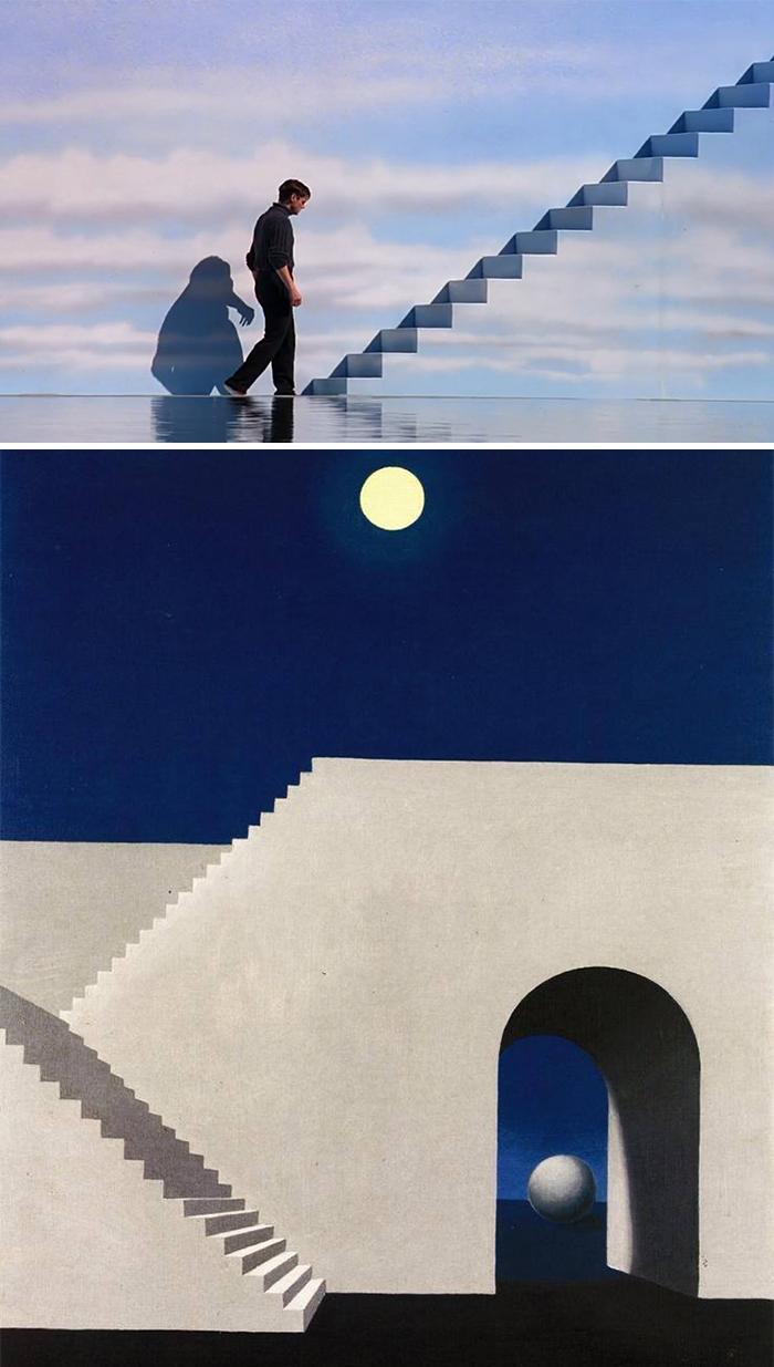 Movie: The Truman Show (1998) vs. Painting: Architecture Au Clair De Lune (1856)