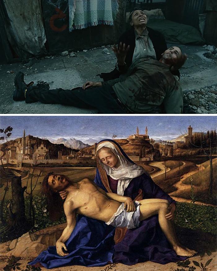 Movie: Children Of Men (2006) vs. Painting: Martinengo Pietà (1505)