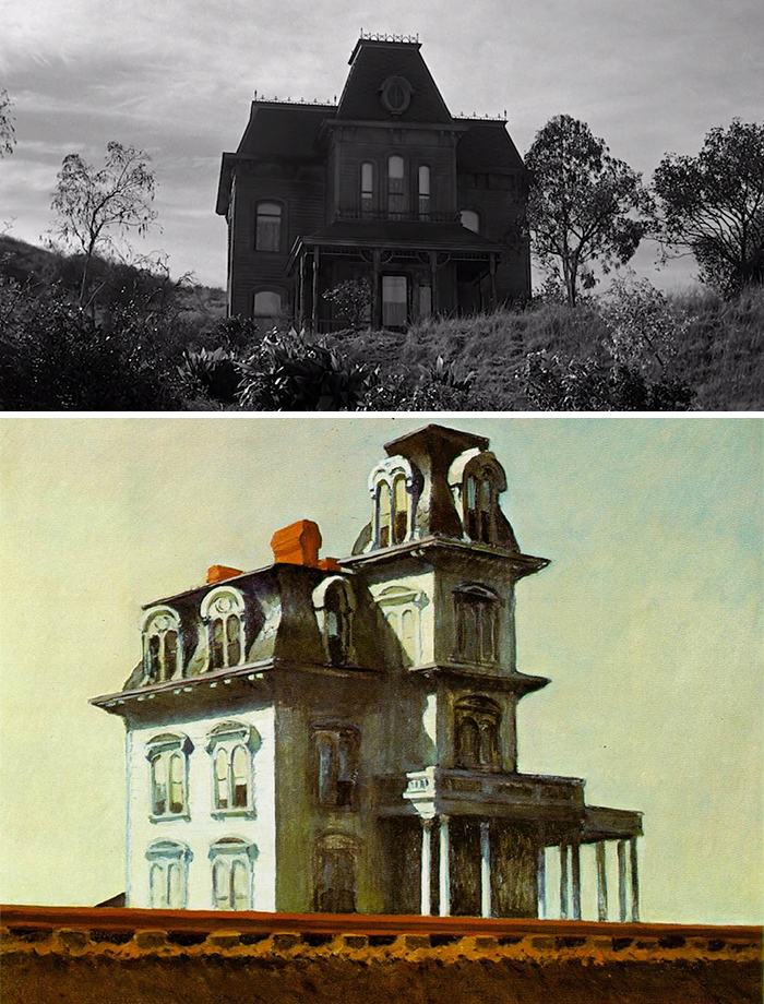 Movie: Psycho (1960) vs. Painting: House By The Railroad (1925)