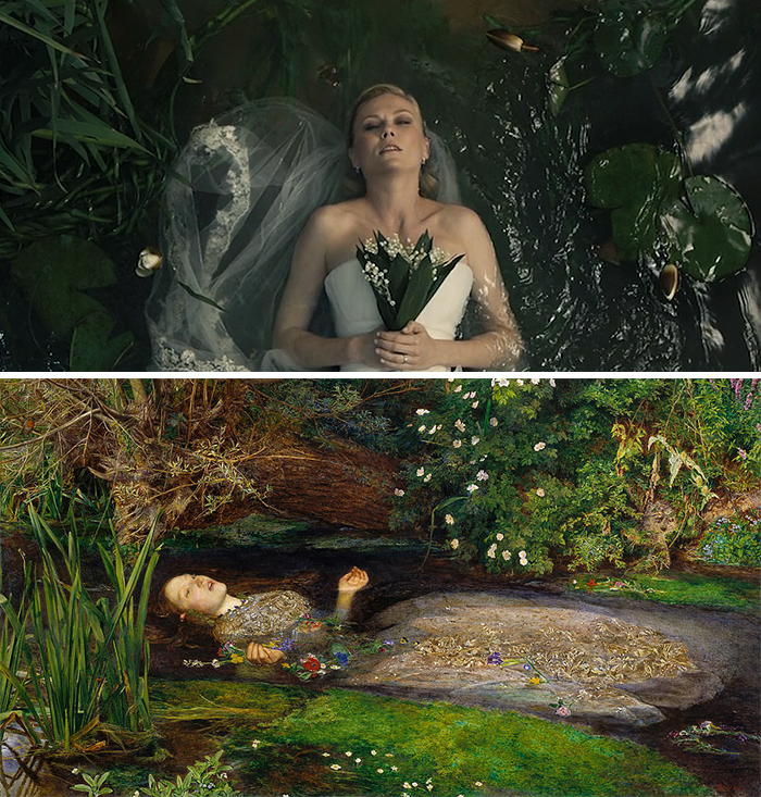 Movie: Melancholia (2011) vs. Painting: Ophelia (1852) vs.