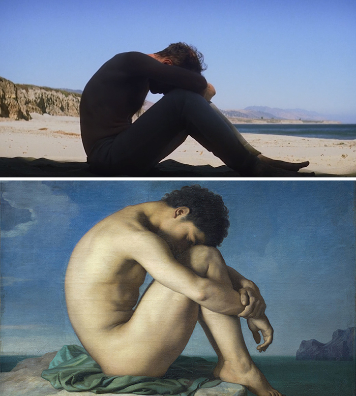 Movie: There Will Be Blood (2007) vs. Painting: Jeune Homme Nu Assis Au Bord De La Mer (1836)