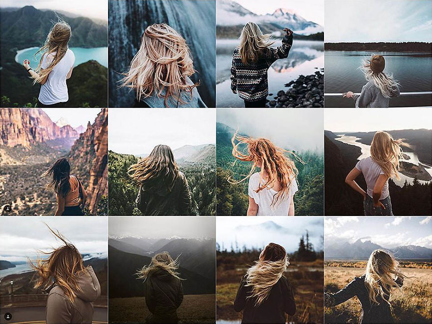 Windy Hair In Front Of Landscape