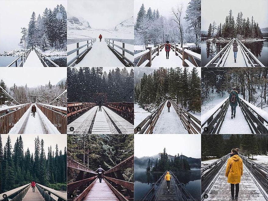 Person Centered On A Bridge