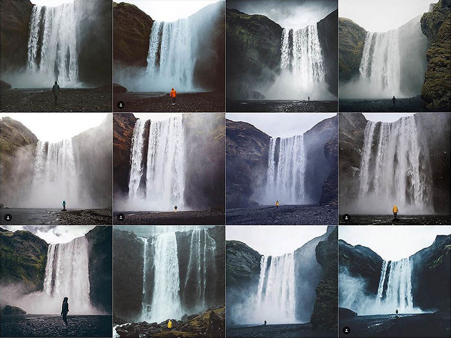 Person In Front Of Waterfall
