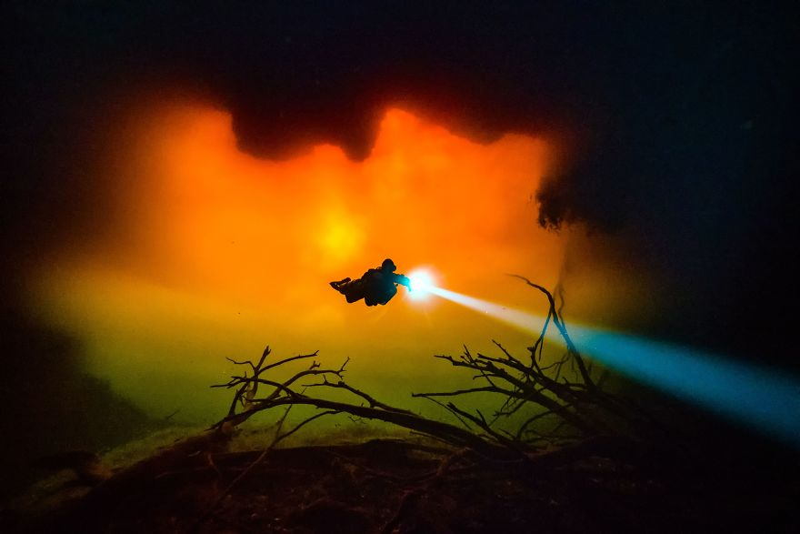 """Wide Angle Category: """"Tannic Water At Cenote Carwash"""" By Tom St George, Mexico"""