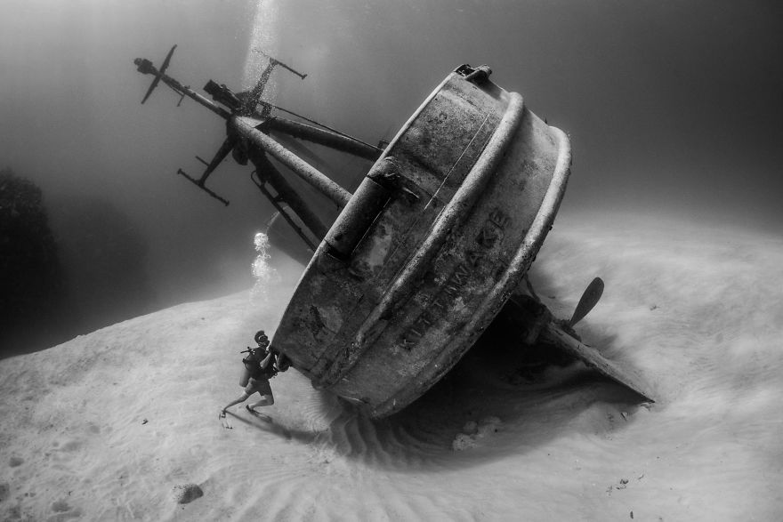 """Wrecks Category: """"OCD Diver Tries To Right Shipwreck"""" By Susannah H. Snowden-Smith, Cayman Islands"""