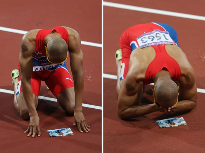 Felix Sanchez Grandma Passed Away While He Was Set To Participate At The 2008 Beijing Summer Olympics. Running Through Emotions, Sanchez Would Finish 22nd Out Of 25. He Made A Promise To Win A Gold Medal For His Grandma. Four Years Later In London He Won His Gold Bringing His Grandma's Picture Pinned Behind His Race Bib. This Is Him After Winning With The Picture In Front Of Him
