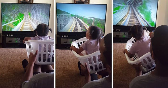 Loving Father Takes His Daughter On A Virtual Rollercoaster Ride In A Laundry Basket, And Her Reaction Is The Best