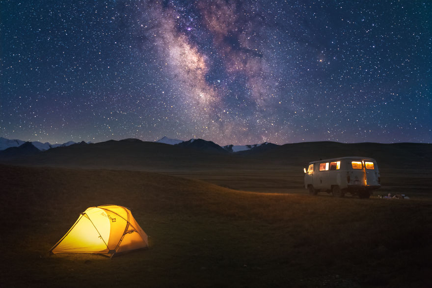 Camping At The Sary-Jaz Valley On The Border Of Kyrgyzstan And China