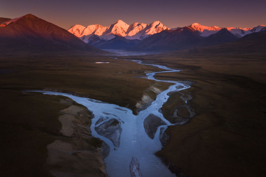 Aerial Shot Of Sunset At The Sary-Jaz Valley On The Border Of Kyrgyzstan And China