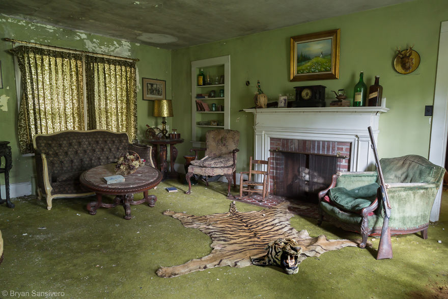 Taxidermy Tiger Rug And Shotgun In The Den