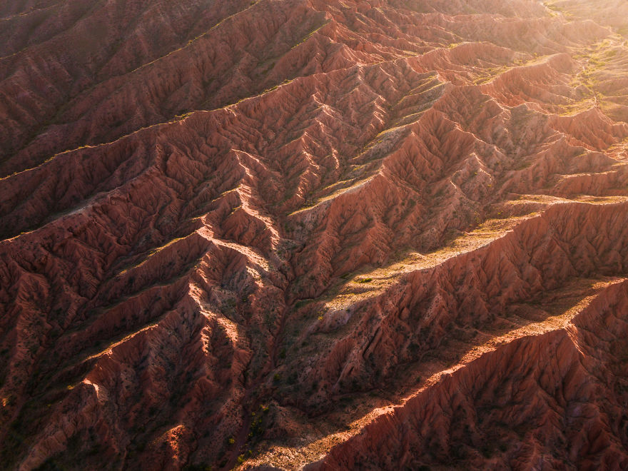 Aerial Shot Of Textures From Just Another Canyon In Kyrgyzstan