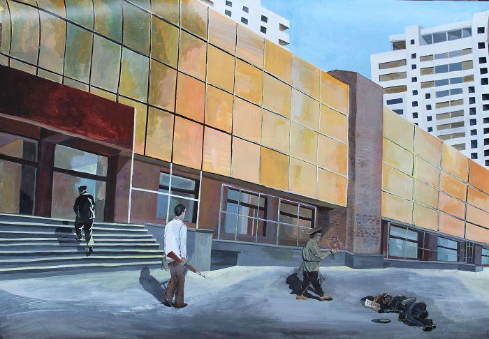 Four Citizens (Acrylic, Paper 100 X 70 Cm.)