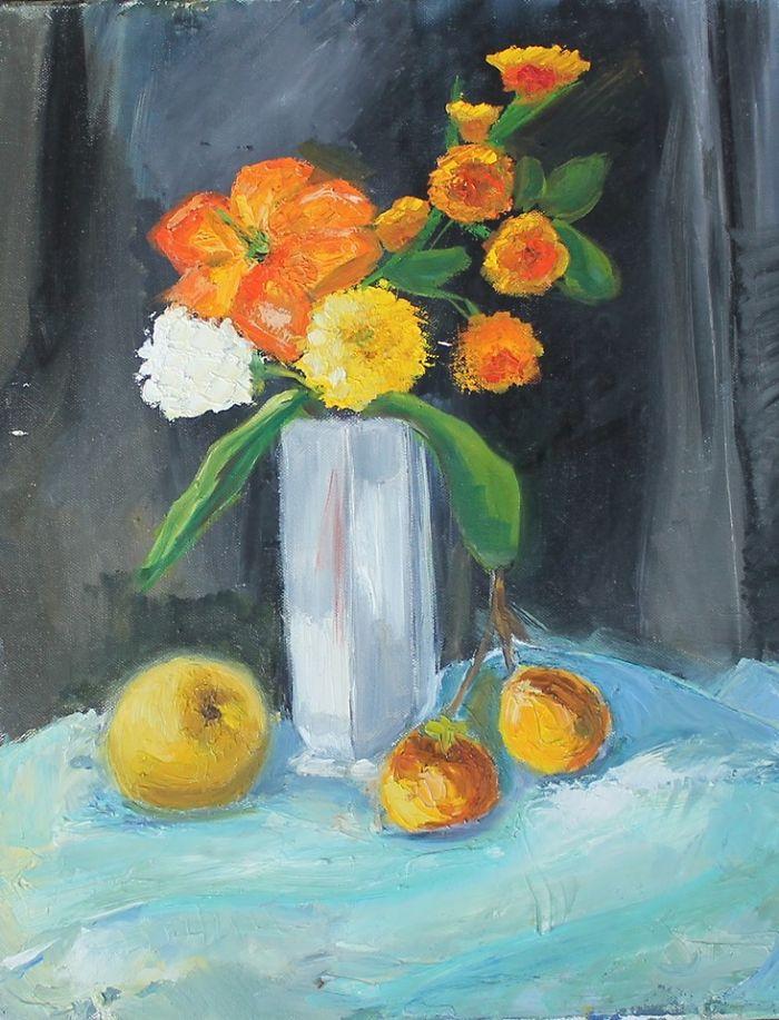 Naturmort (Oil On Canvas 40 X 50 Cm.)
