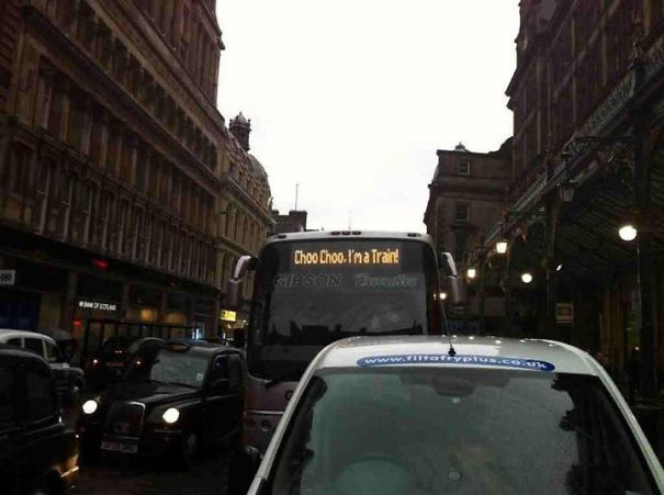 A Bus Driver With A Sense Of Humour? Rail Replacement Bus Service In Glasgow