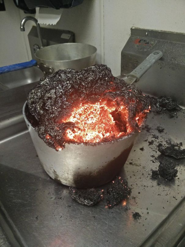 I Forgot I Was Making Caramel At Work. It's A Tad Overcooked