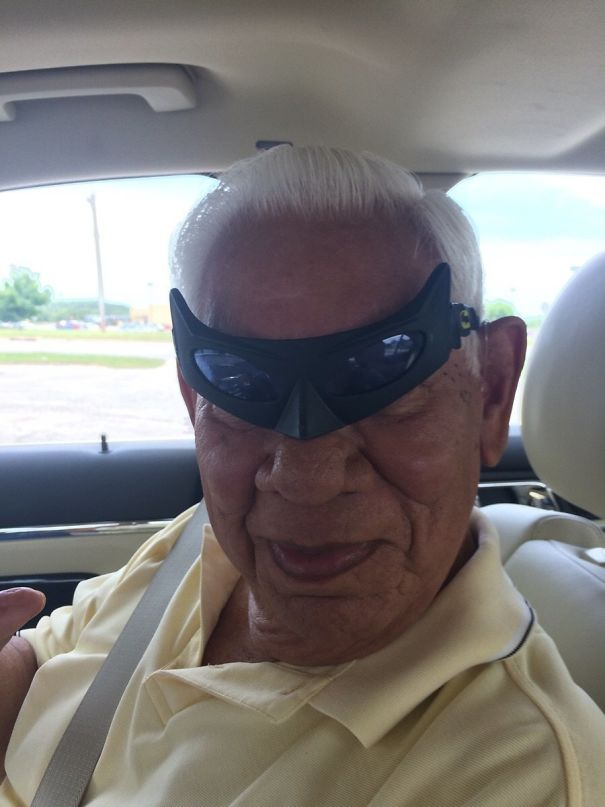I Found Batman Glasses And Forgot I Left Them In My Grandpa's Car. He Sent Me This Picture